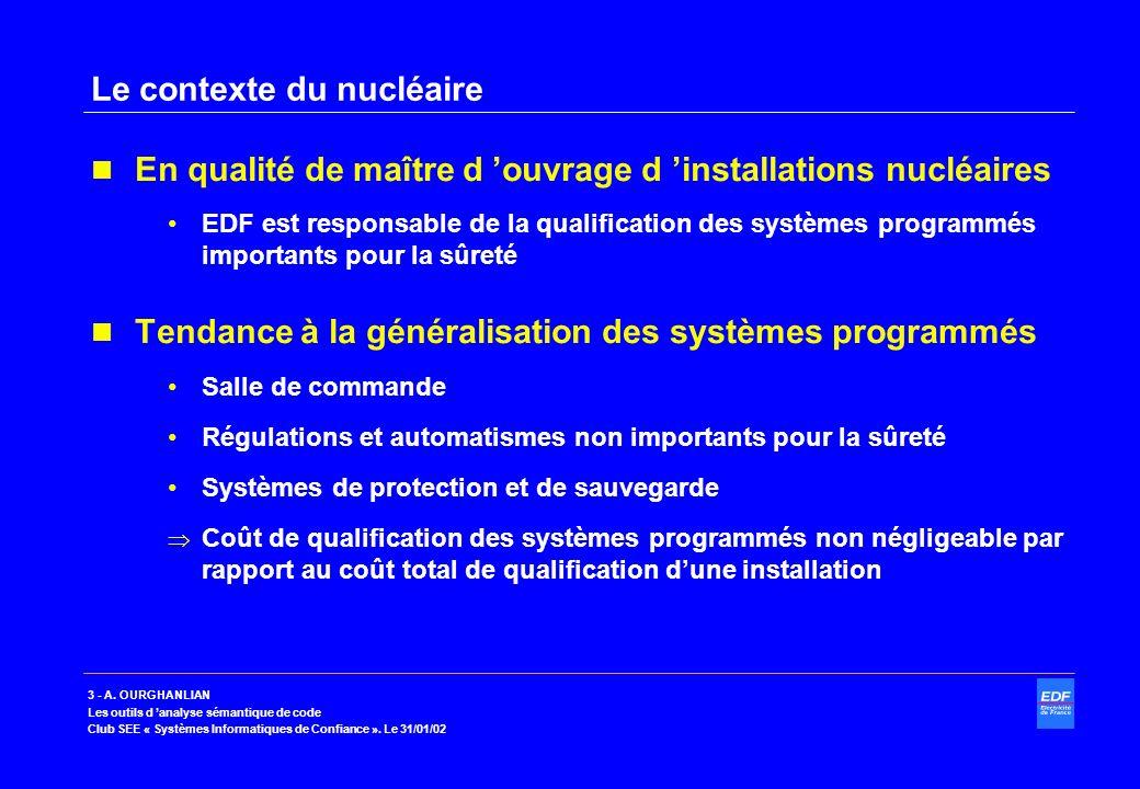 3 - A. OURGHANLIAN Les outils d analyse sémantique de code Club SEE « Systèmes Informatiques de Confiance ». Le 31/01/02 Le contexte du nucléaire En q
