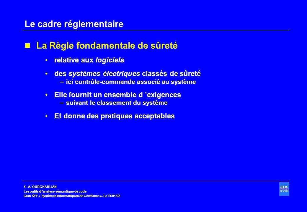 4 - A. OURGHANLIAN Les outils d analyse sémantique de code Club SEE « Systèmes Informatiques de Confiance ». Le 31/01/02 Le cadre réglementaire La Règ
