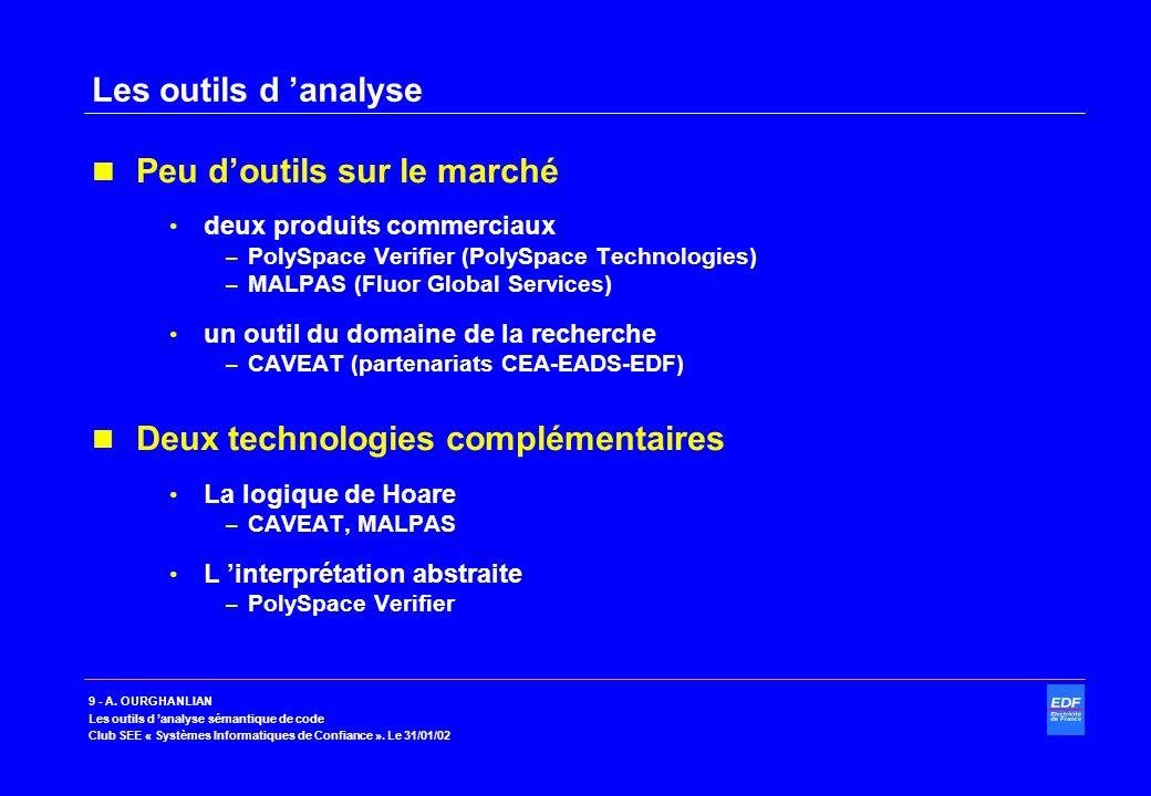 9 - A. OURGHANLIAN Les outils d analyse sémantique de code Club SEE « Systèmes Informatiques de Confiance ». Le 31/01/02 Les outils d analyse Peu dout