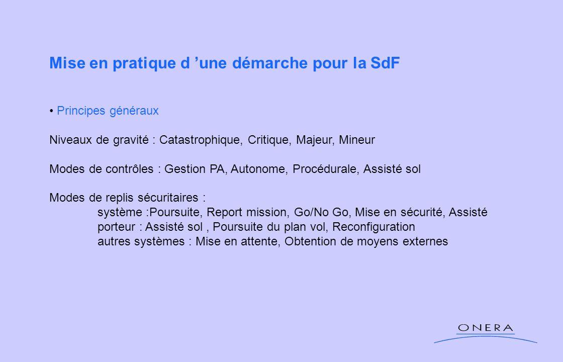 Mise en pratique d une démarche pour la SdF Principes généraux Niveaux de gravité : Catastrophique, Critique, Majeur, Mineur Modes de contrôles : Gest