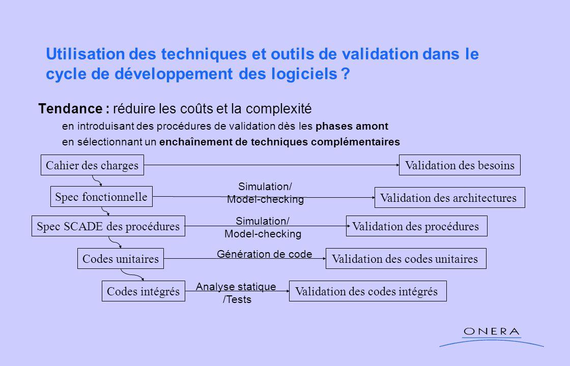 Utilisation des techniques et outils de validation dans le cycle de développement des logiciels ? Tendance : réduire les coûts et la complexité en int