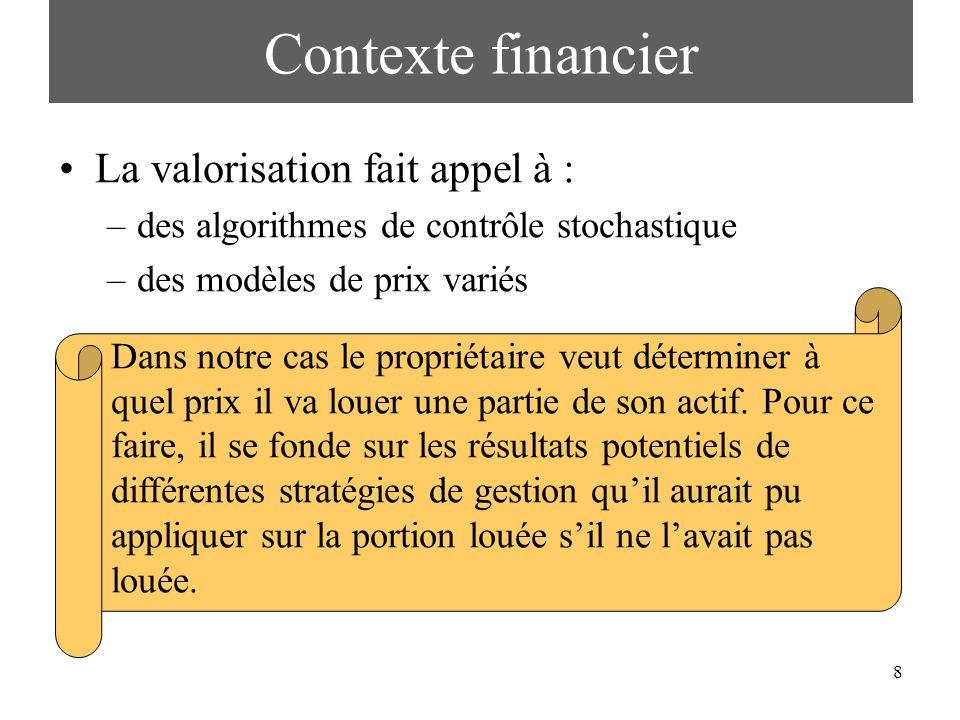 8 La valorisation fait appel à : –des algorithmes de contrôle stochastique –des modèles de prix variés Contexte financier Dans notre cas le propriétai