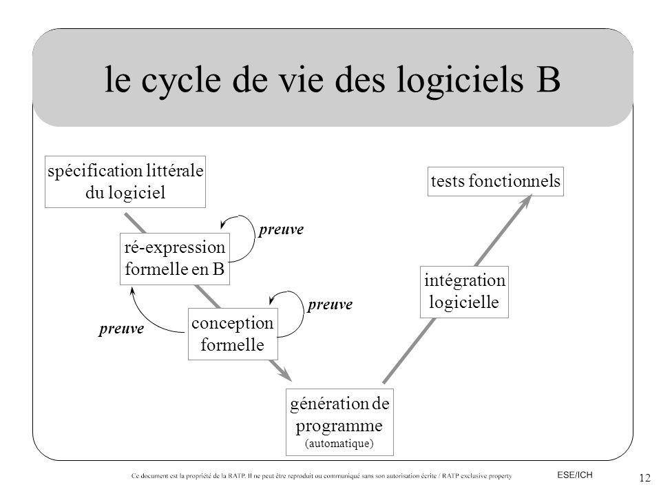 12 le cycle de vie des logiciels B spécification littérale du logiciel tests fonctionnels ré-expression formelle en B conception formelle génération d