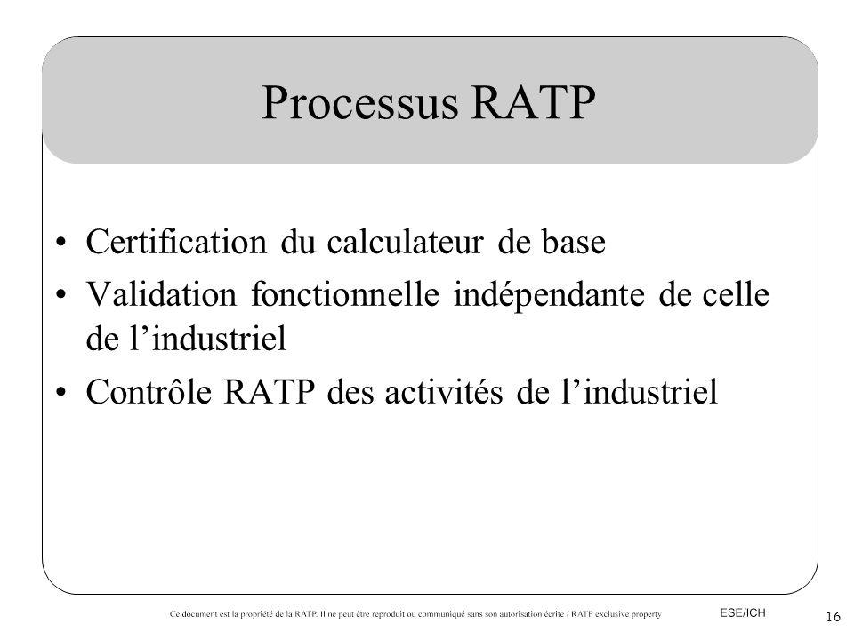 16 Processus RATP Certification du calculateur de base Validation fonctionnelle indépendante de celle de lindustriel Contrôle RATP des activités de li