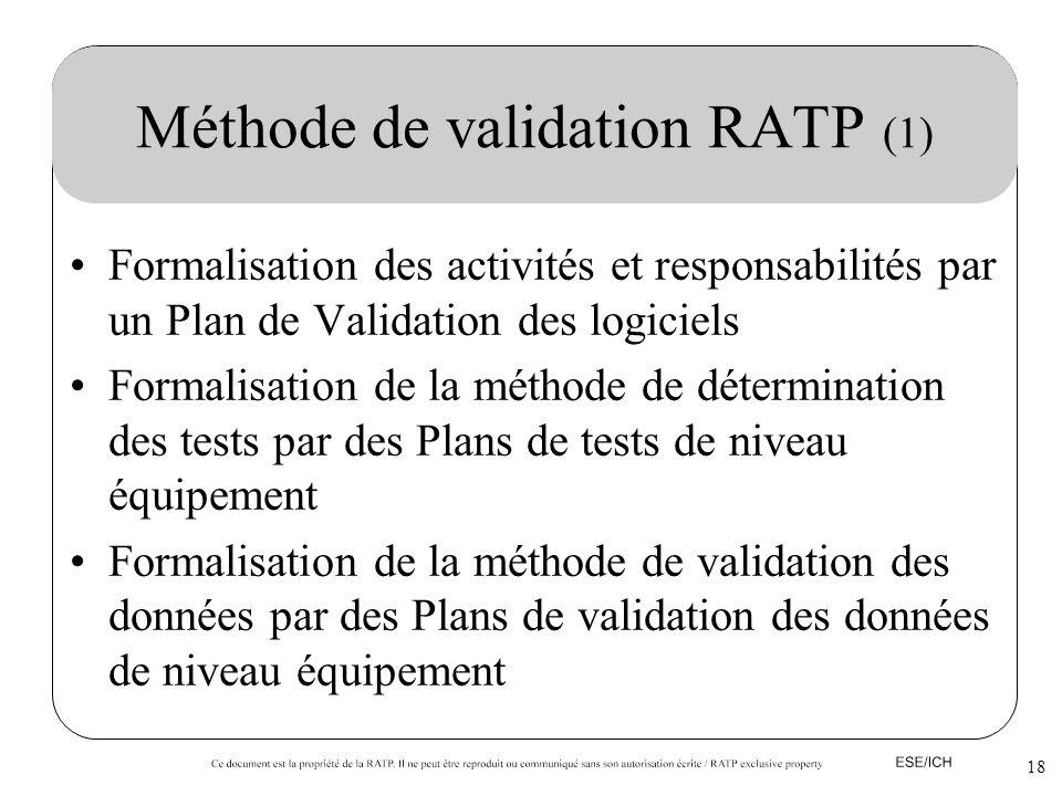 18 Méthode de validation RATP (1) Formalisation des activités et responsabilités par un Plan de Validation des logiciels Formalisation de la méthode d