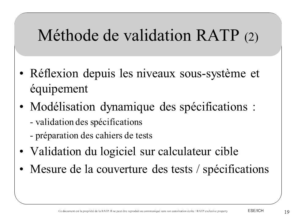 19 Méthode de validation RATP (2) Réflexion depuis les niveaux sous-système et équipement Modélisation dynamique des spécifications : - validation des