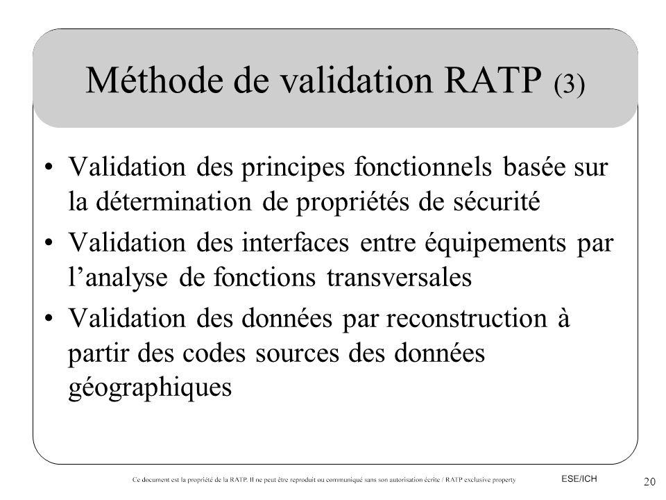 20 Méthode de validation RATP (3) Validation des principes fonctionnels basée sur la détermination de propriétés de sécurité Validation des interfaces