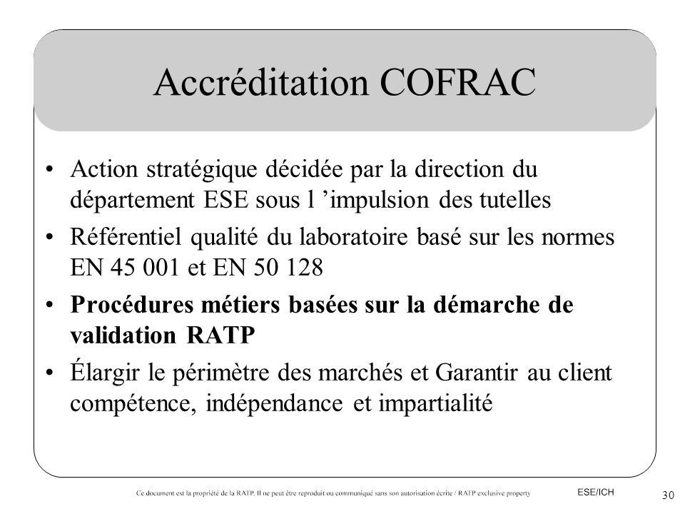 30 Accréditation COFRAC Action stratégique décidée par la direction du département ESE sous l impulsion des tutelles Référentiel qualité du laboratoir