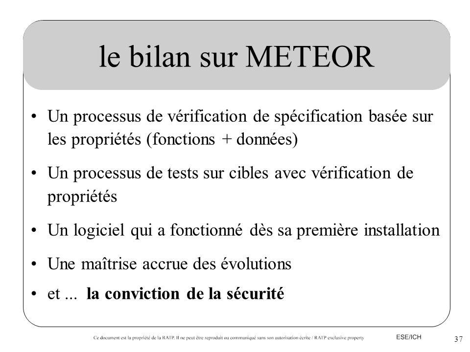37 le bilan sur METEOR Un processus de vérification de spécification basée sur les propriétés (fonctions + données) Un processus de tests sur cibles a