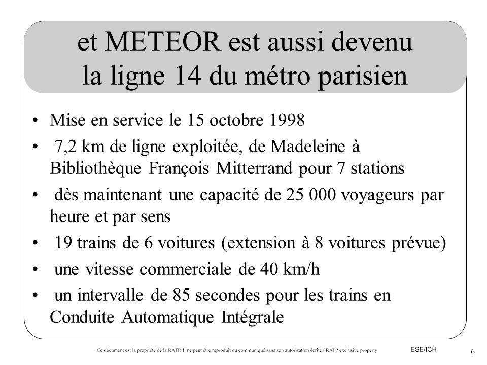 6 et METEOR est aussi devenu la ligne 14 du métro parisien Mise en service le 15 octobre 1998 7,2 km de ligne exploitée, de Madeleine à Bibliothèque F