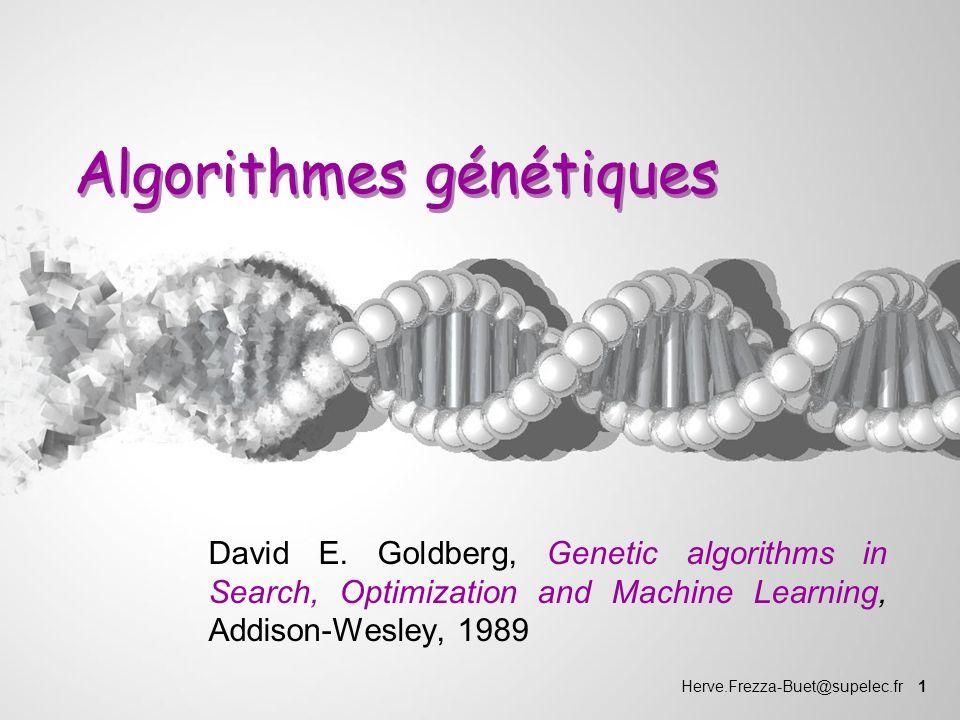 Herve.Frezza-Buet@supelec.fr 1 Algorithmes génétiques David E. Goldberg, Genetic algorithms in Search, Optimization and Machine Learning, Addison-Wesl