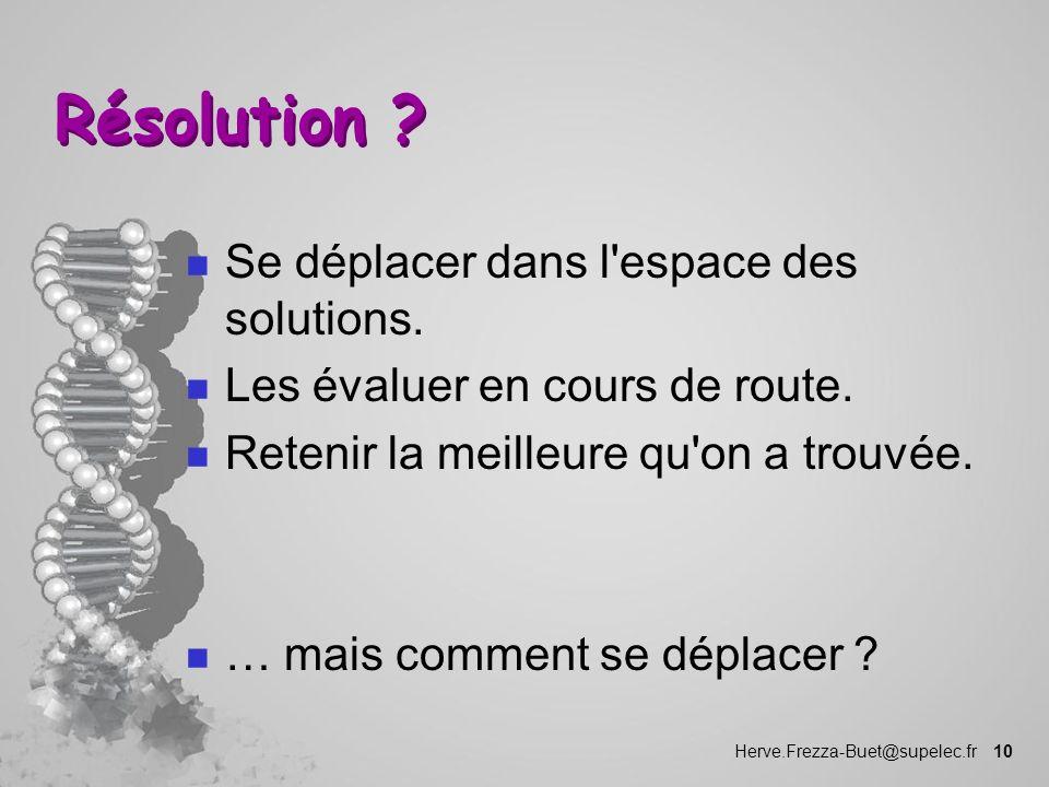 Herve.Frezza-Buet@supelec.fr 10 Résolution ? n Se déplacer dans l'espace des solutions. n Les évaluer en cours de route. n Retenir la meilleure qu'on