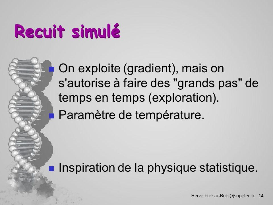 Herve.Frezza-Buet@supelec.fr 14 Recuit simulé n On exploite (gradient), mais on s'autorise à faire des