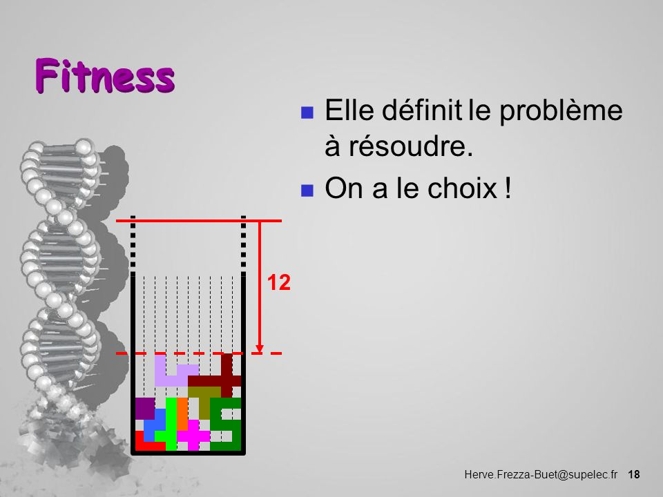 Herve.Frezza-Buet@supelec.fr 18 Fitness n Elle définit le problème à résoudre. n On a le choix ! 12