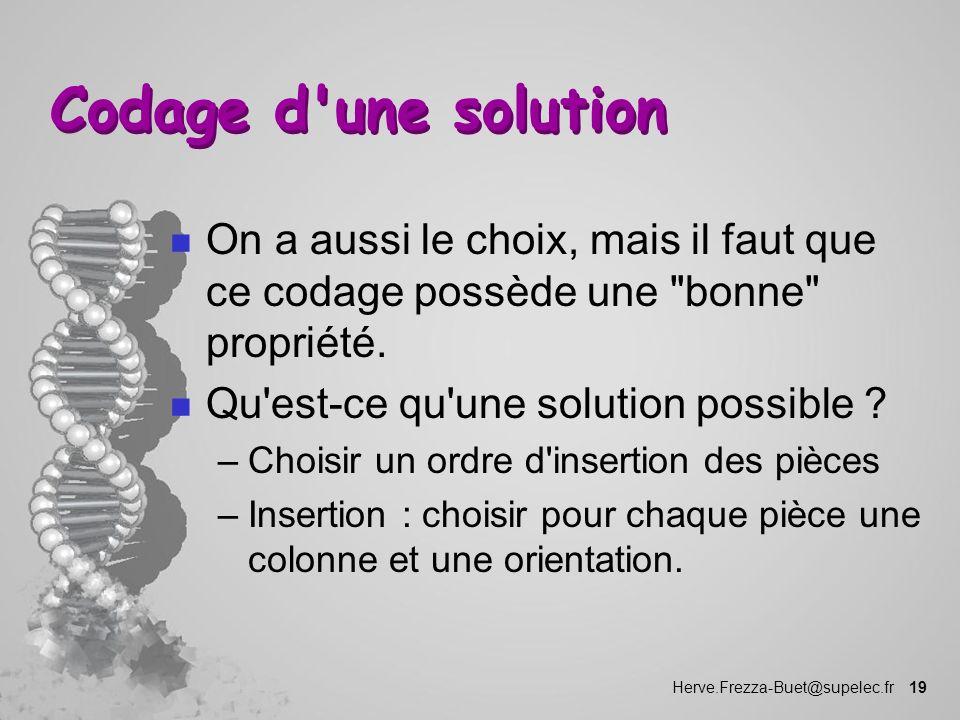 Herve.Frezza-Buet@supelec.fr 19 Codage d'une solution n On a aussi le choix, mais il faut que ce codage possède une