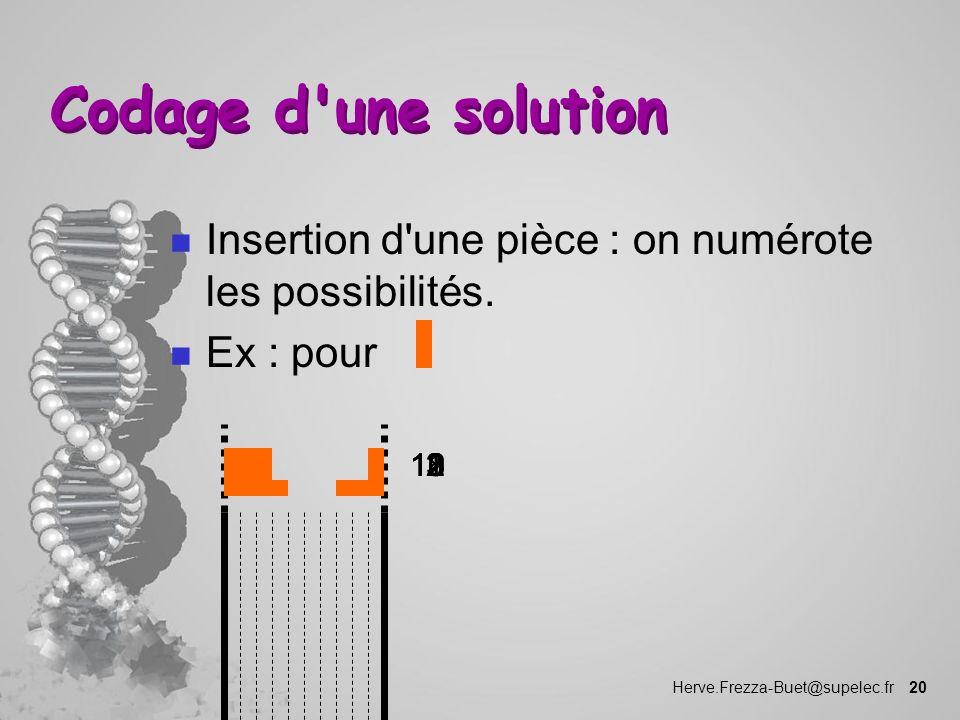 Herve.Frezza-Buet@supelec.fr 20 Codage d'une solution n Insertion d'une pièce : on numérote les possibilités. n Ex : pour 12310111218