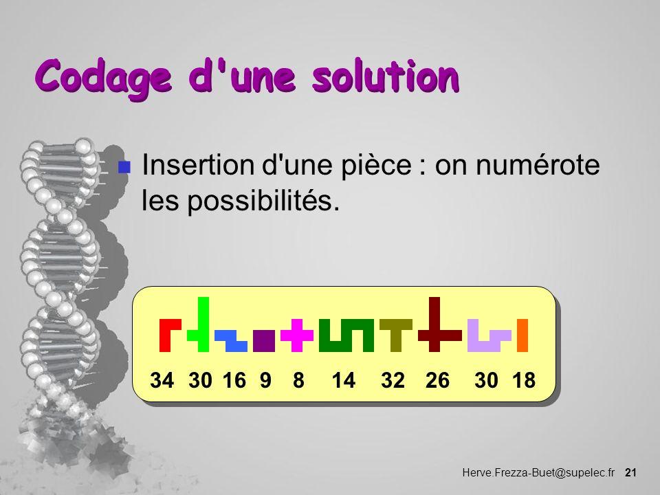 Herve.Frezza-Buet@supelec.fr 21 Codage d'une solution n Insertion d'une pièce : on numérote les possibilités. 183026321481630349