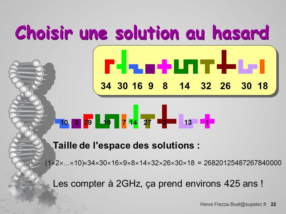Herve.Frezza-Buet@supelec.fr 22 Choisir une solution au hasard 183026321481630349 1032910147227131 Taille de l'espace des solutions : (1 2... 10) 34 3