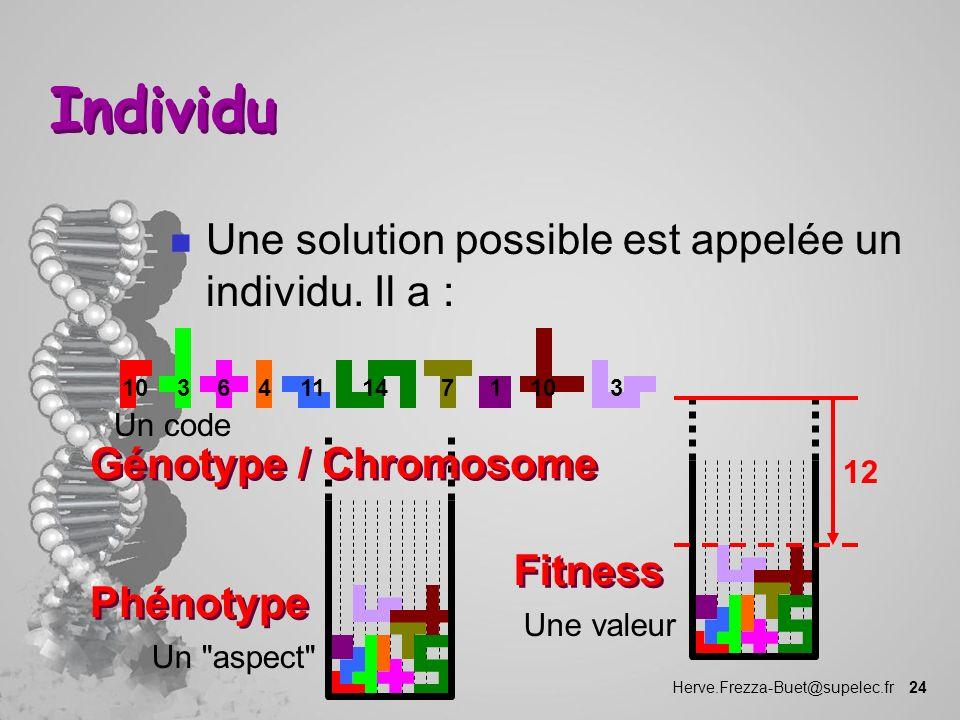 Herve.Frezza-Buet@supelec.fr 24 Individu n Une solution possible est appelée un individu. Il a : Un code Un