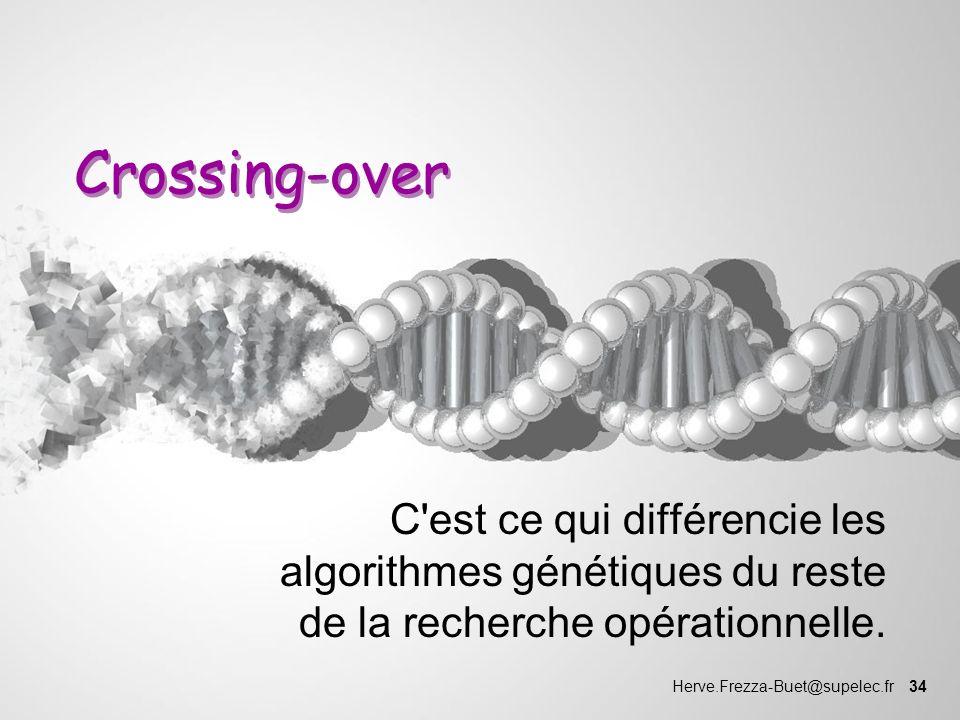 Herve.Frezza-Buet@supelec.fr 34 Crossing-over C'est ce qui différencie les algorithmes génétiques du reste de la recherche opérationnelle.