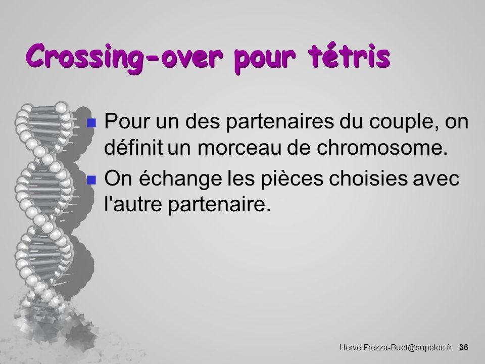 Herve.Frezza-Buet@supelec.fr 36 Crossing-over pour tétris n Pour un des partenaires du couple, on définit un morceau de chromosome. n On échange les p