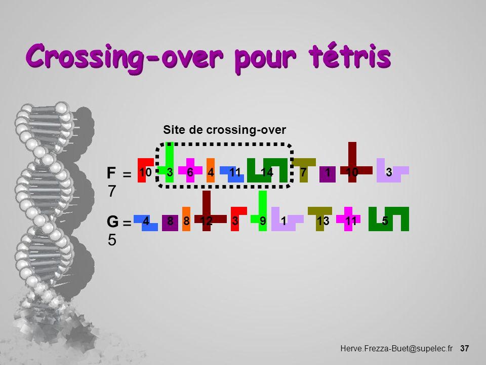 Herve.Frezza-Buet@supelec.fr 37 Crossing-over pour tétris 11110143410736 F 7 = 48 35 9 8 12 13111 G 5 = Site de crossing-over