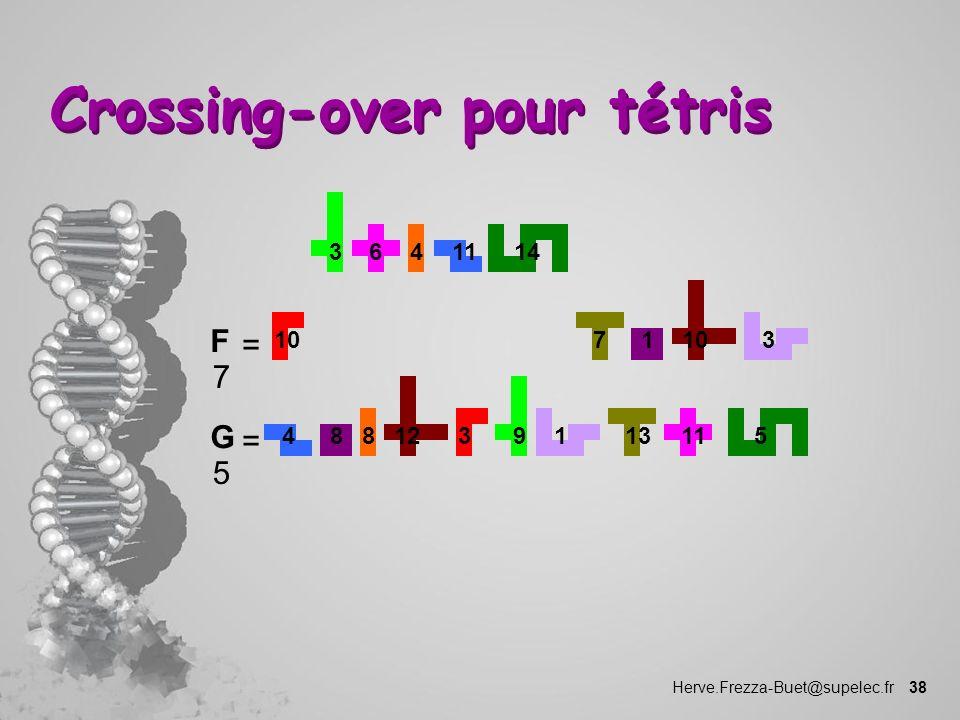 Herve.Frezza-Buet@supelec.fr 38 Crossing-over pour tétris 1 10 73 1114346 F 7 = 48 35 9 8 12 13111 G 5 =