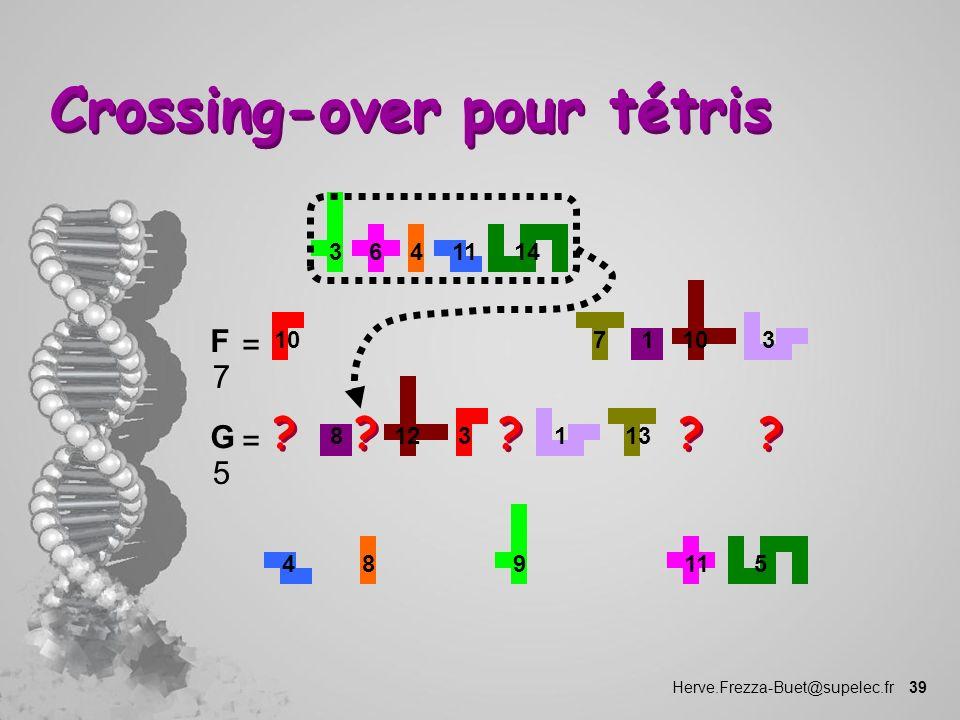 Herve.Frezza-Buet@supelec.fr 39 Crossing-over pour tétris 1 10 73 1114346 F 7 = 8 3 12 131 459811 G 5 = ? ? ? ? ? ? ? ? ? ?