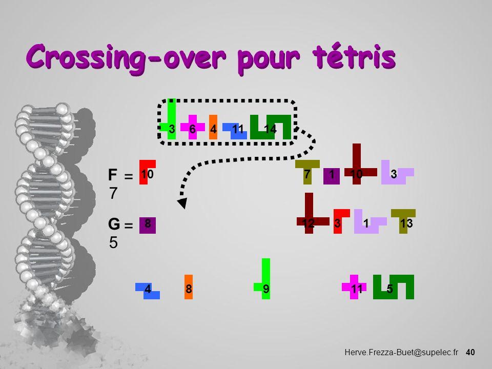 Herve.Frezza-Buet@supelec.fr 40 Crossing-over pour tétris 1 10 73 1114346 F 7 = 8 3 12 131 459811 G 5 =