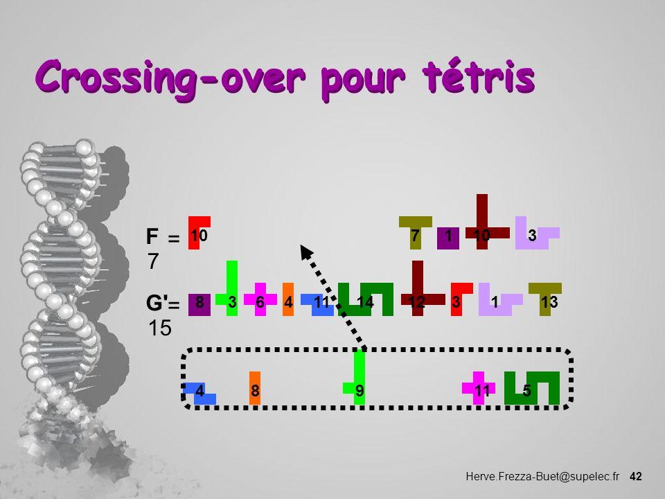 Herve.Frezza-Buet@supelec.fr 42 Crossing-over pour tétris 1 10 73 1114346 F 7 = 8 3 12 131 459811 G' 15 =