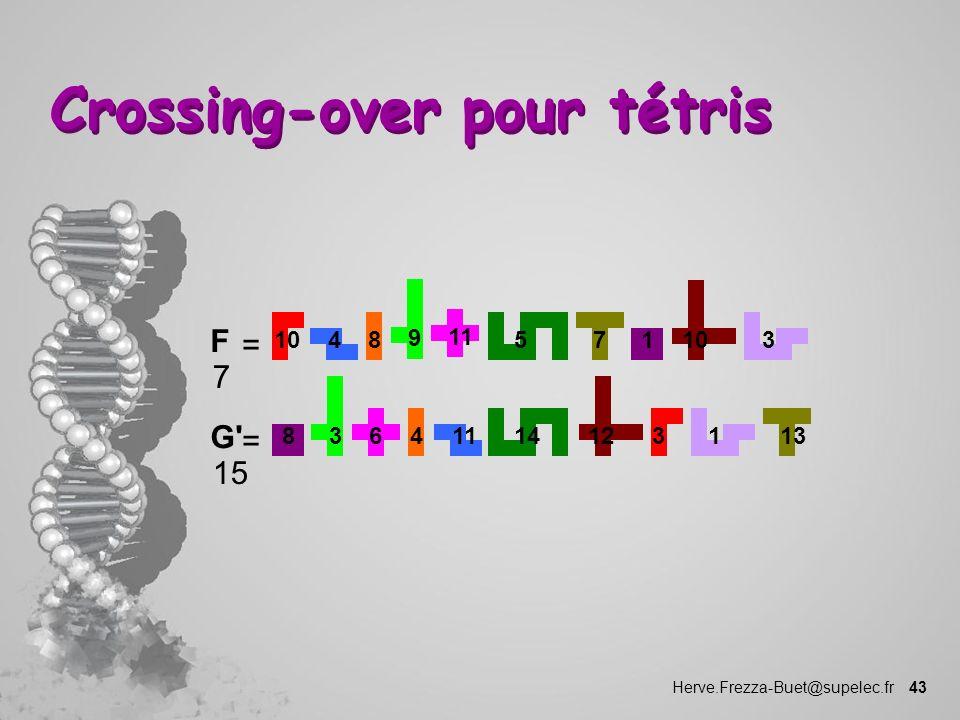 Herve.Frezza-Buet@supelec.fr 43 Crossing-over pour tétris 1 10 73 1114346 = 8 3 12 131 45 9 8 11 G' 15 = F 7