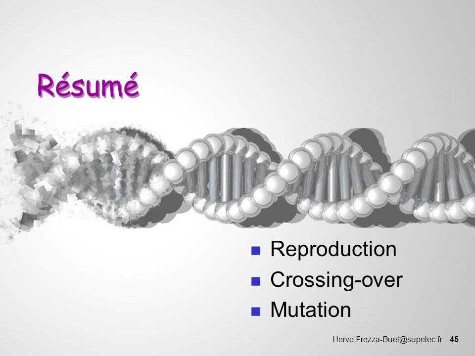 Herve.Frezza-Buet@supelec.fr 45 Résumé n Reproduction n Crossing-over n Mutation