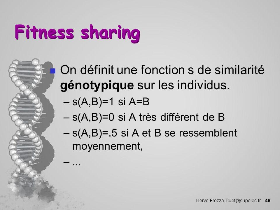 Herve.Frezza-Buet@supelec.fr 48 Fitness sharing n On définit une fonction s de similarité génotypique sur les individus. –s(A,B)=1 si A=B –s(A,B)=0 si