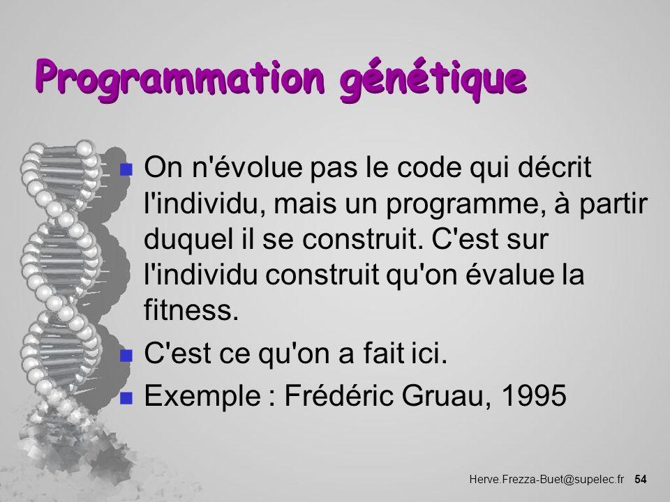 Herve.Frezza-Buet@supelec.fr 54 Programmation génétique n On n'évolue pas le code qui décrit l'individu, mais un programme, à partir duquel il se cons