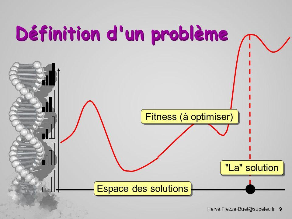 Herve.Frezza-Buet@supelec.fr 9 Définition d'un problème Espace des solutionsFitness (à optimiser)