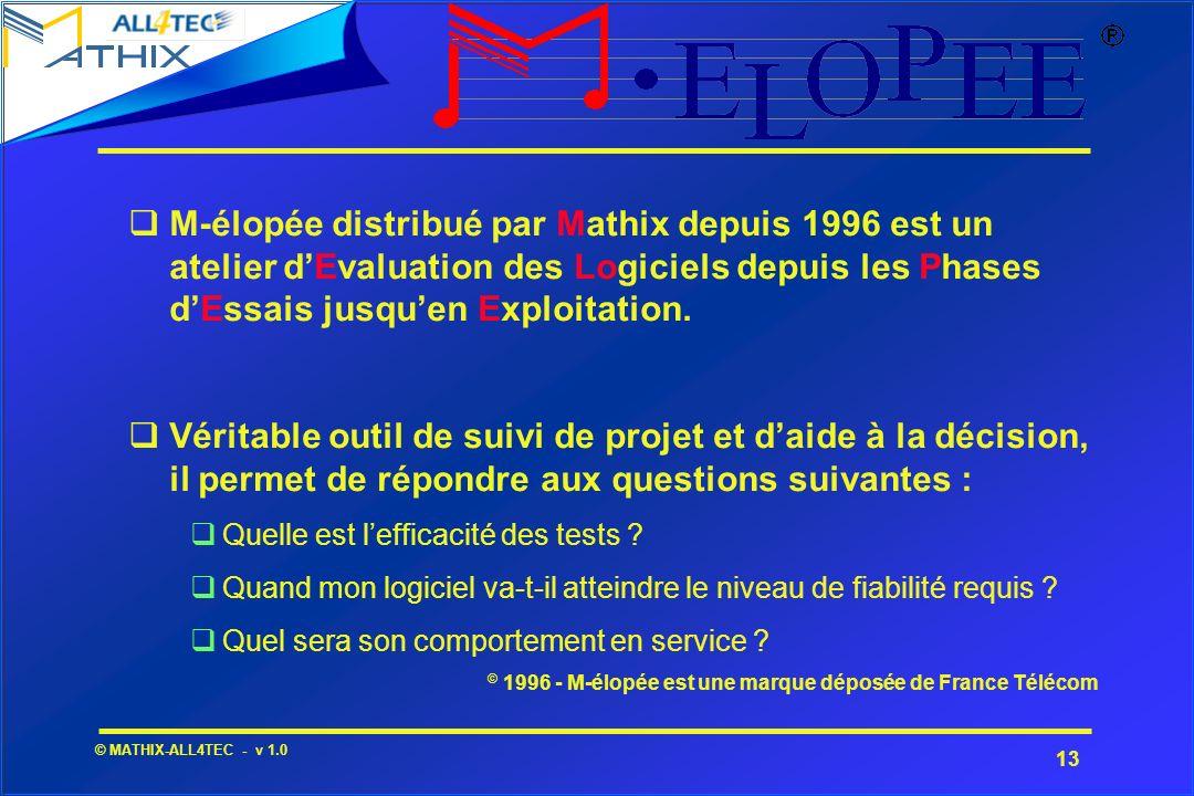 13 © MATHIX-ALL4TEC - v 1.0 M-élopée distribué par Mathix depuis 1996 est un atelier dEvaluation des Logiciels depuis les Phases dEssais jusquen Explo