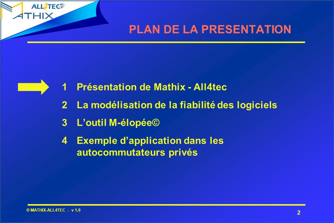2 © MATHIX-ALL4TEC - v 1.0 1Présentation de Mathix - All4tec 2La modélisation de la fiabilité des logiciels 3Loutil M-élopée© 4Exemple dapplication da