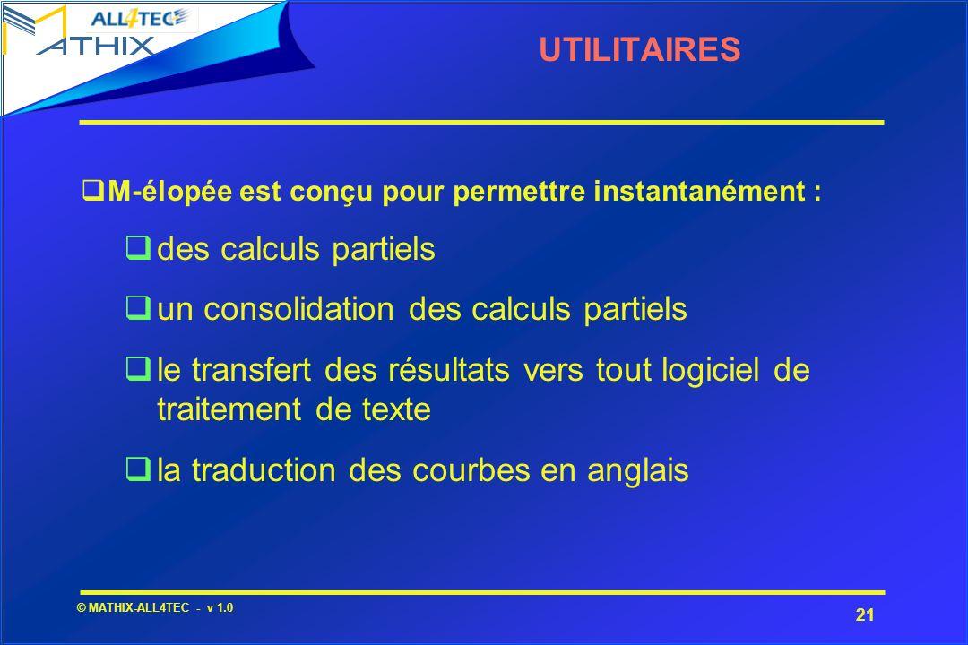 21 © MATHIX-ALL4TEC - v 1.0 UTILITAIRES M-élopée est conçu pour permettre instantanément : qdes calculs partiels qun consolidation des calculs partiel