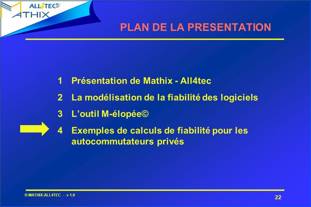 22 © MATHIX-ALL4TEC - v 1.0 1Présentation de Mathix - All4tec 2La modélisation de la fiabilité des logiciels 3Loutil M-élopée© 4Exemples de calculs de