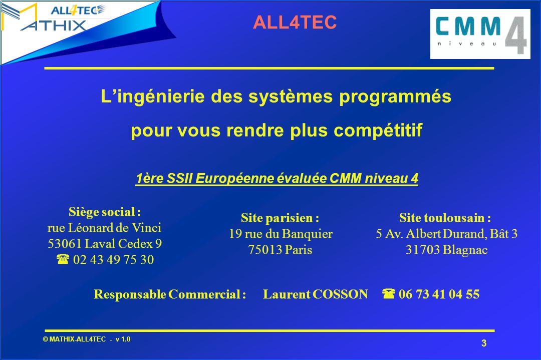 4 © MATHIX-ALL4TEC - v 1.0 ALL4TEC - HISTORIQUE Création en 1998 à Laval - Ouverture de lagence de PARIS en 2000 et de celle de TOULOUSE en 2001 Création en 2004 dALL4TEC Génie Logiciel (R&D et commercialisation produit MATELO) Regroupement en 2005 avec la société MATHIX (ingénierie de la sûreté de fonctionnement des systèmes programmés) Un capital de 500 000 Euros et une indépendance financière 2,5 M d activité en 2005 - 40 ingénieurs et consultants Plus de 100 hommes.an d expérience en savoir faire logiciel