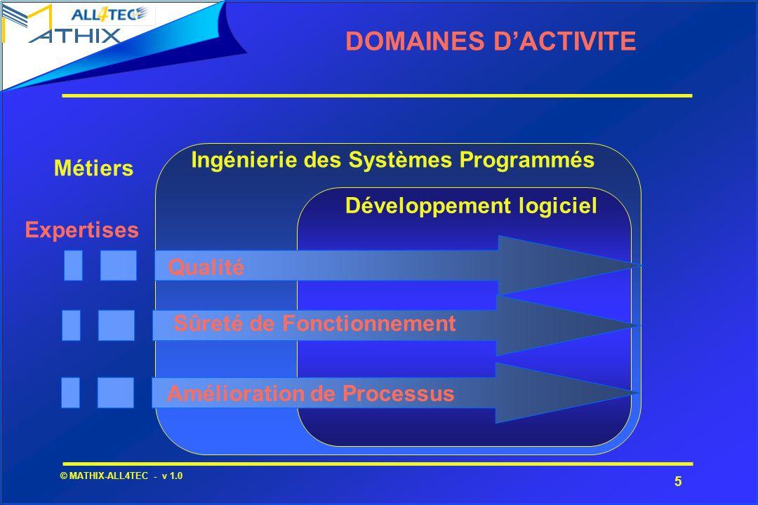 5 © MATHIX-ALL4TEC - v 1.0 DOMAINES DACTIVITE Ingénierie des Systèmes Programmés Développement logiciel Métiers Expertises Qualité Sûreté de Fonctionn