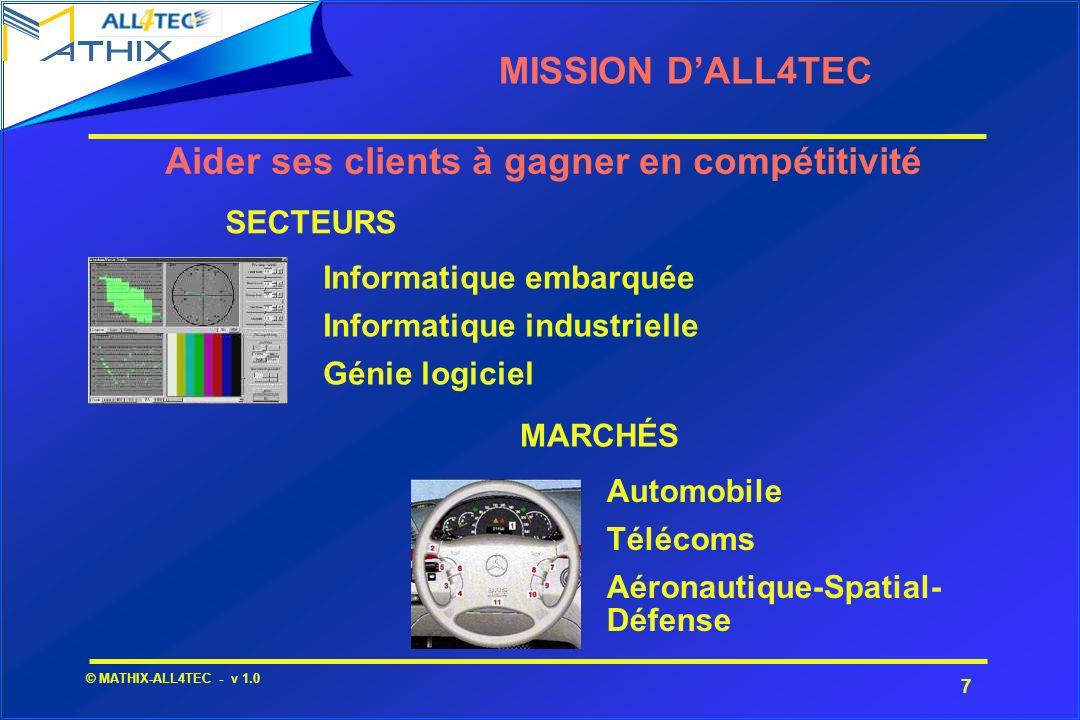 7 © MATHIX-ALL4TEC - v 1.0 MISSION DALL4TEC Informatique embarquée Informatique industrielle Génie logiciel Automobile Télécoms Aéronautique-Spatial-