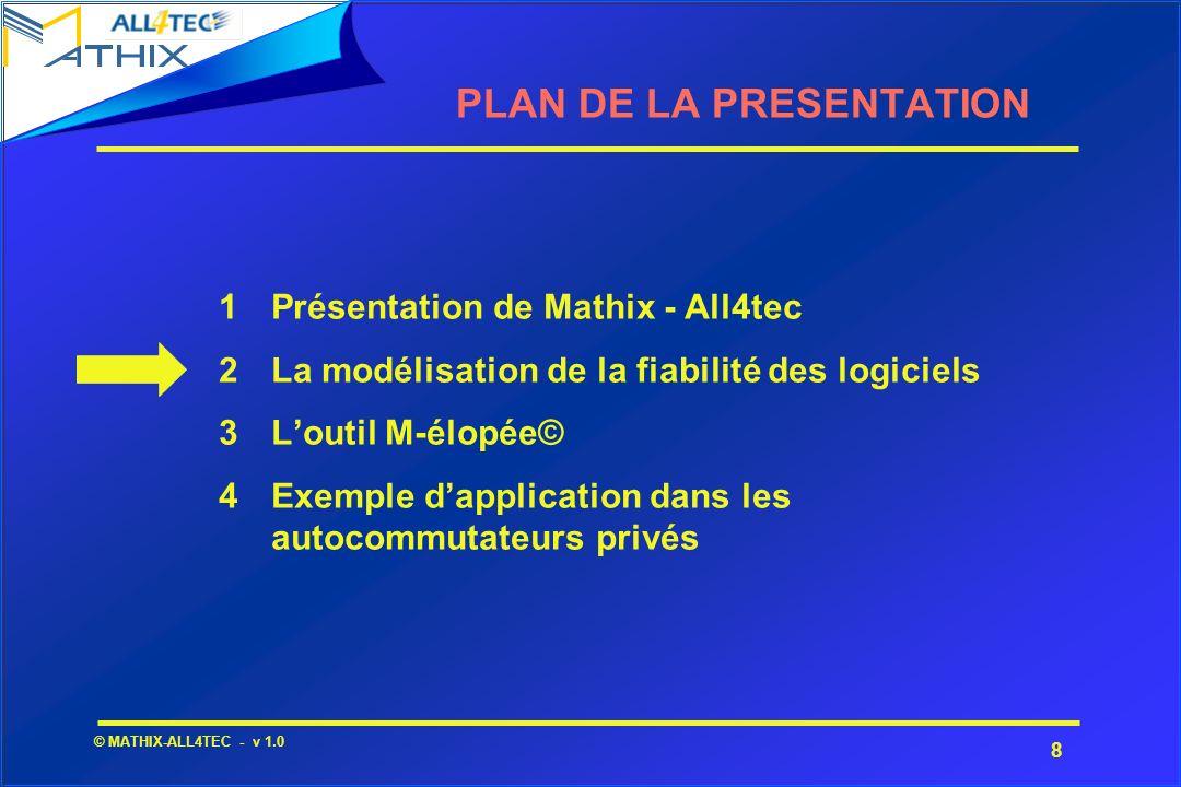 8 © MATHIX-ALL4TEC - v 1.0 1Présentation de Mathix - All4tec 2La modélisation de la fiabilité des logiciels 3Loutil M-élopée© 4Exemple dapplication da