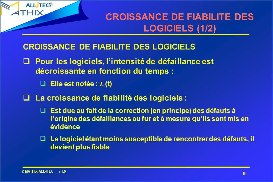 9 © MATHIX-ALL4TEC - v 1.0 CROISSANCE DE FIABILITE DES LOGICIELS (1/2) CROISSANCE DE FIABILITE DES LOGICIELS Pour les logiciels, lintensité de défaill