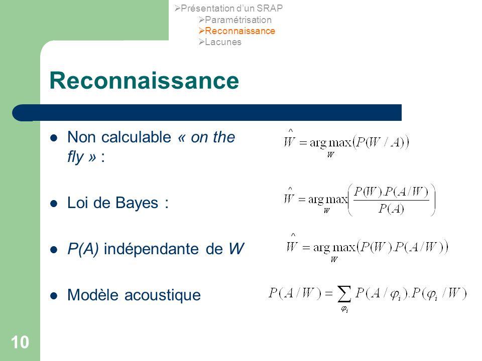 10 Reconnaissance Non calculable « on the fly » : Loi de Bayes : P(A) indépendante de W Modèle acoustique Présentation dun SRAP Paramétrisation Reconnaissance Lacunes