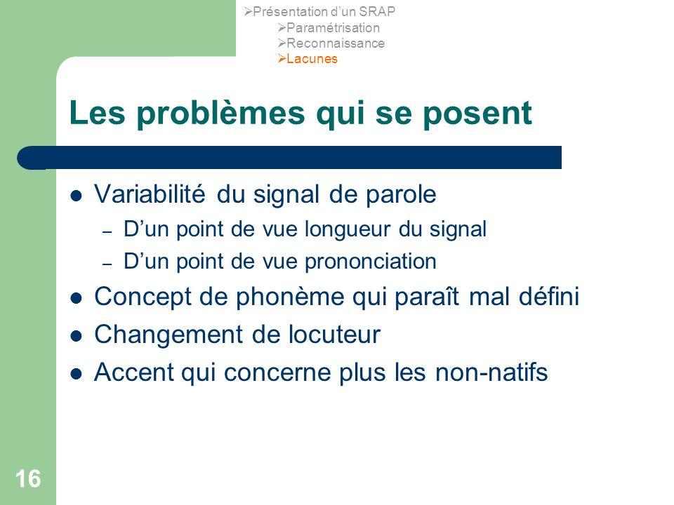 16 Les problèmes qui se posent Variabilité du signal de parole – Dun point de vue longueur du signal – Dun point de vue prononciation Concept de phonè