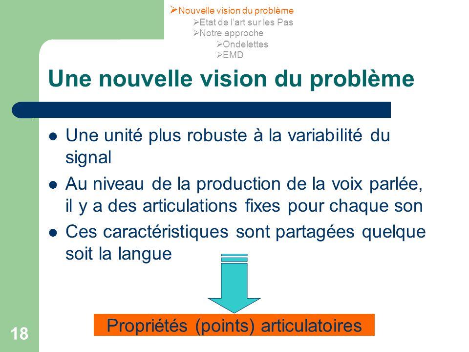 18 Une nouvelle vision du problème Une unité plus robuste à la variabilité du signal Au niveau de la production de la voix parlée, il y a des articula