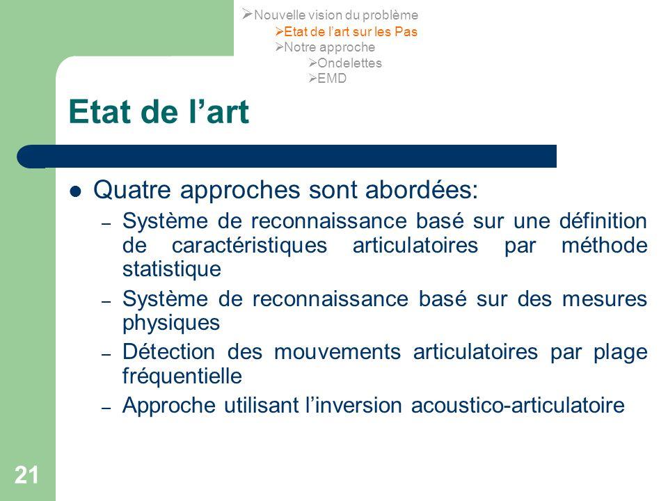 21 Etat de lart Quatre approches sont abordées: – Système de reconnaissance basé sur une définition de caractéristiques articulatoires par méthode sta