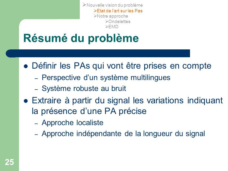 25 Résumé du problème Définir les PAs qui vont être prises en compte – Perspective dun système multilingues – Système robuste au bruit Extraire à part