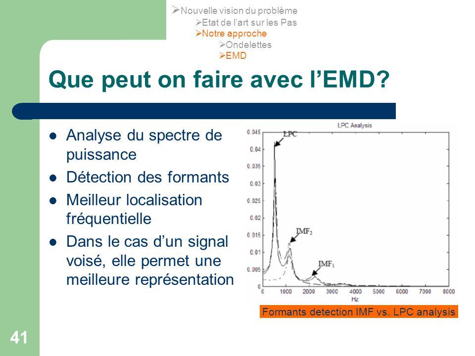 41 Que peut on faire avec lEMD? Analyse du spectre de puissance Détection des formants Meilleur localisation fréquentielle Dans le cas dun signal vois